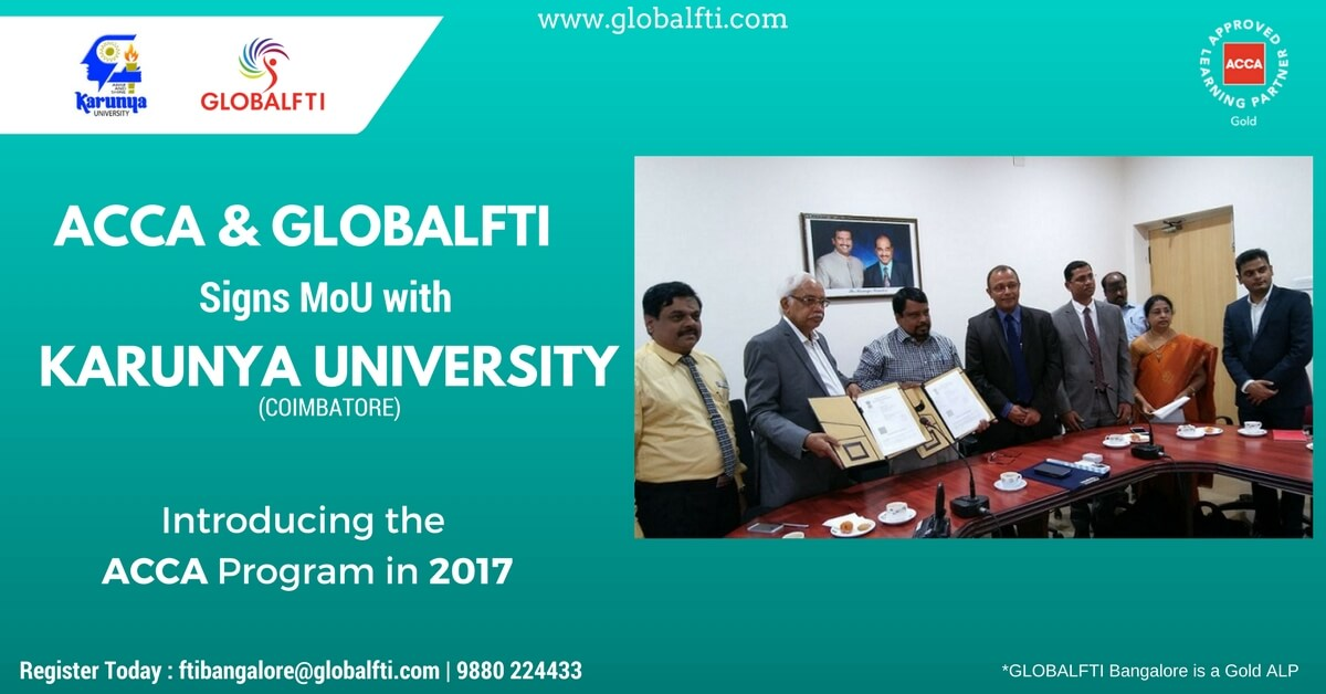 ACCA And GLOBALFTI Signs MoU with Karunya University